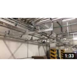 Конвейерная система отвода коробов на платформе FH-105 для 3х производственных линий